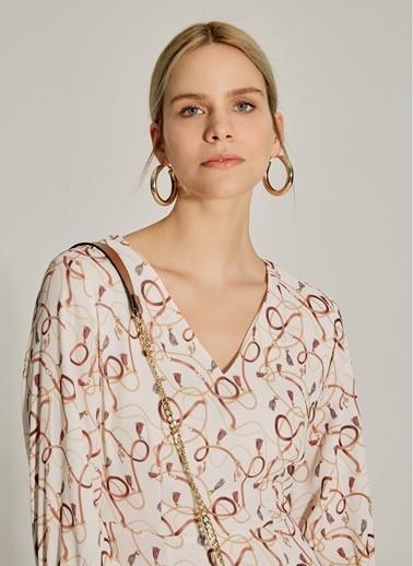 NGSTYLE Desenli V Yaka Mini Elbise Bej